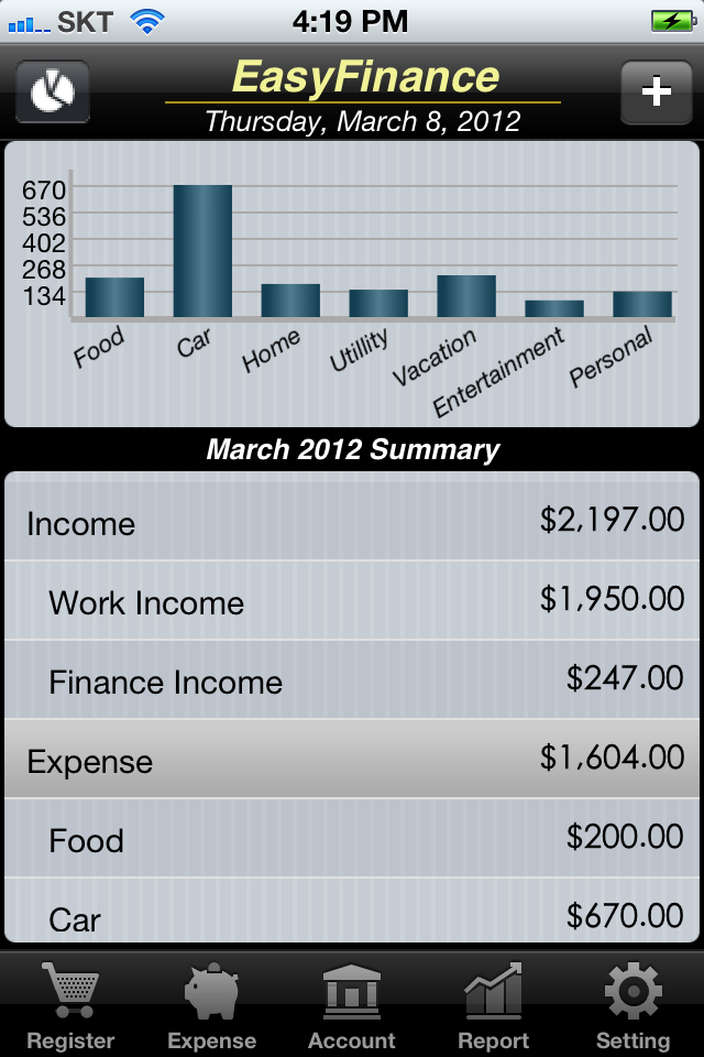 EasyFinance(Expenses plusIncome plusAccounts) screenshot 2